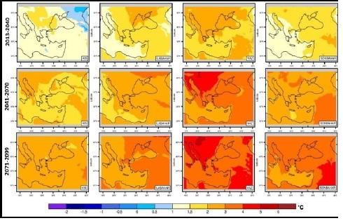 Şekil 1: Tüm mevsimler için 1971- 2000 periyoduna göre 2013-2040, 2041-2070, 2071-2099 periyodlarının sıcaklık farkı haritası
