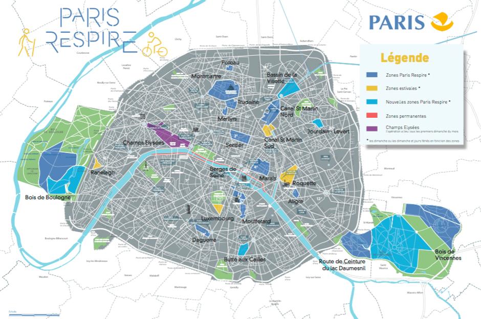 Paris'in arabasız bölgelerinin haritası. Açık mavi bölgeler 2 Haziran'da uygulamaya başlatılan, sarı bölgeler sadece yaz aylarında, mor bölgeler ise ayda bir pazar trafiğe kapanan bölgeleri gösteriyor.